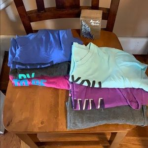 Lot of six large Tek Gear workout v-necks